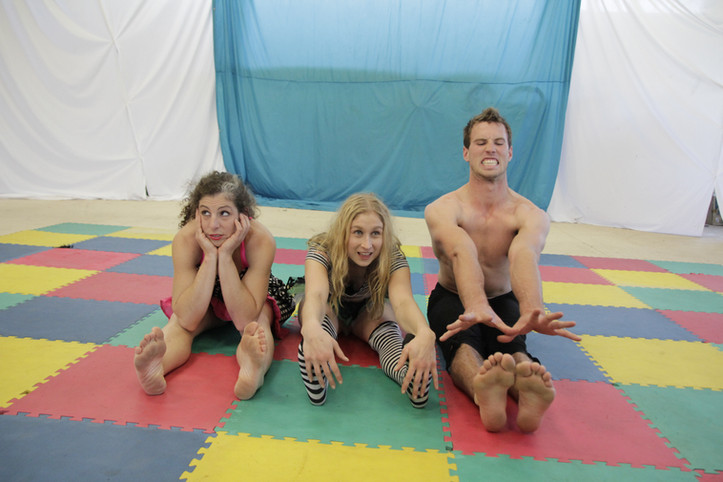 Isobel, Bonnie and Hamish warming up for the Have a Go Show