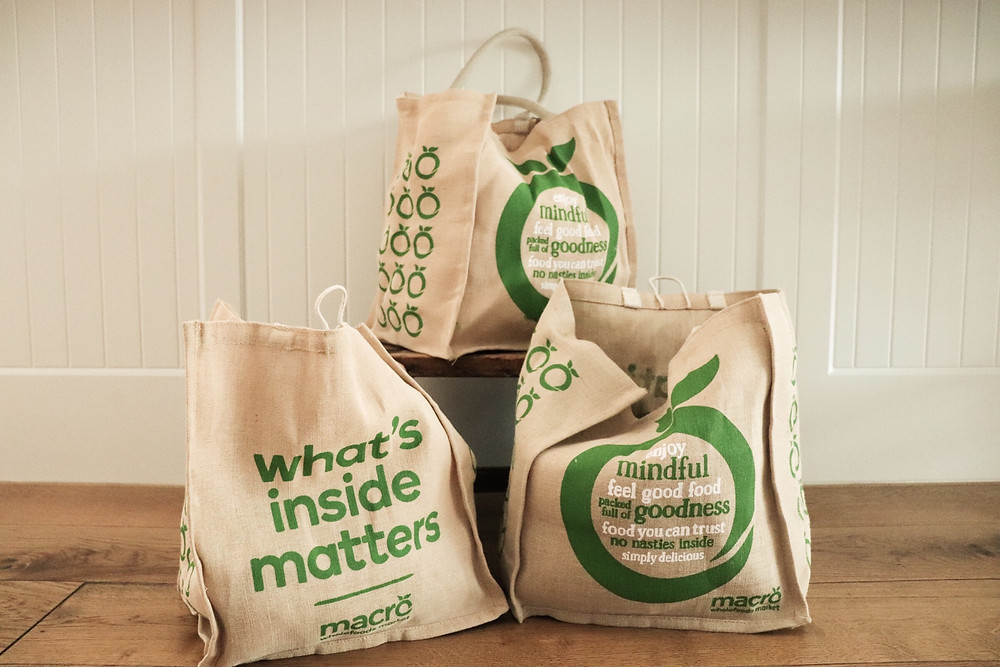 Non-plastic, re-usable grocery bags.
