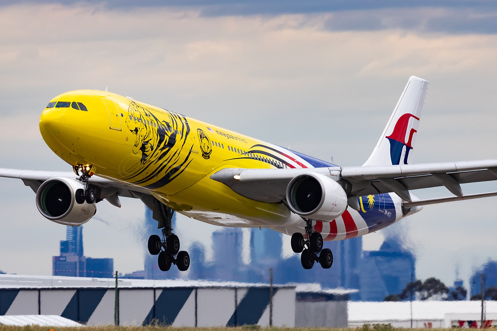 Malaysian Airlines A333 9M-MTG Malayan Tiger Livery arrives at Melbourne Airport