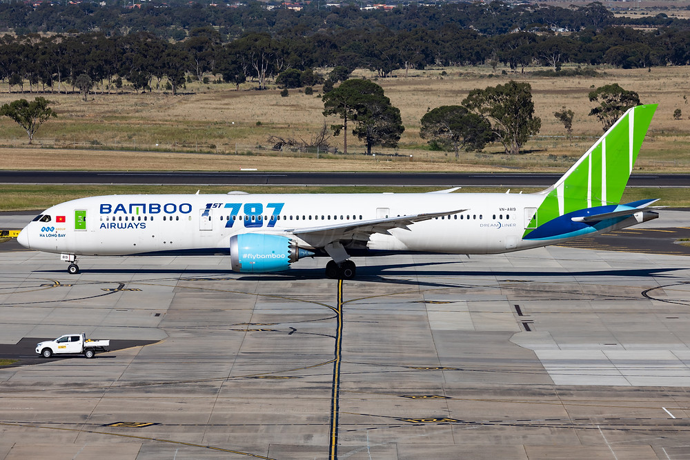 Bamboo Airways B789 VN-A819 operating a repatriation flight to Melbourne