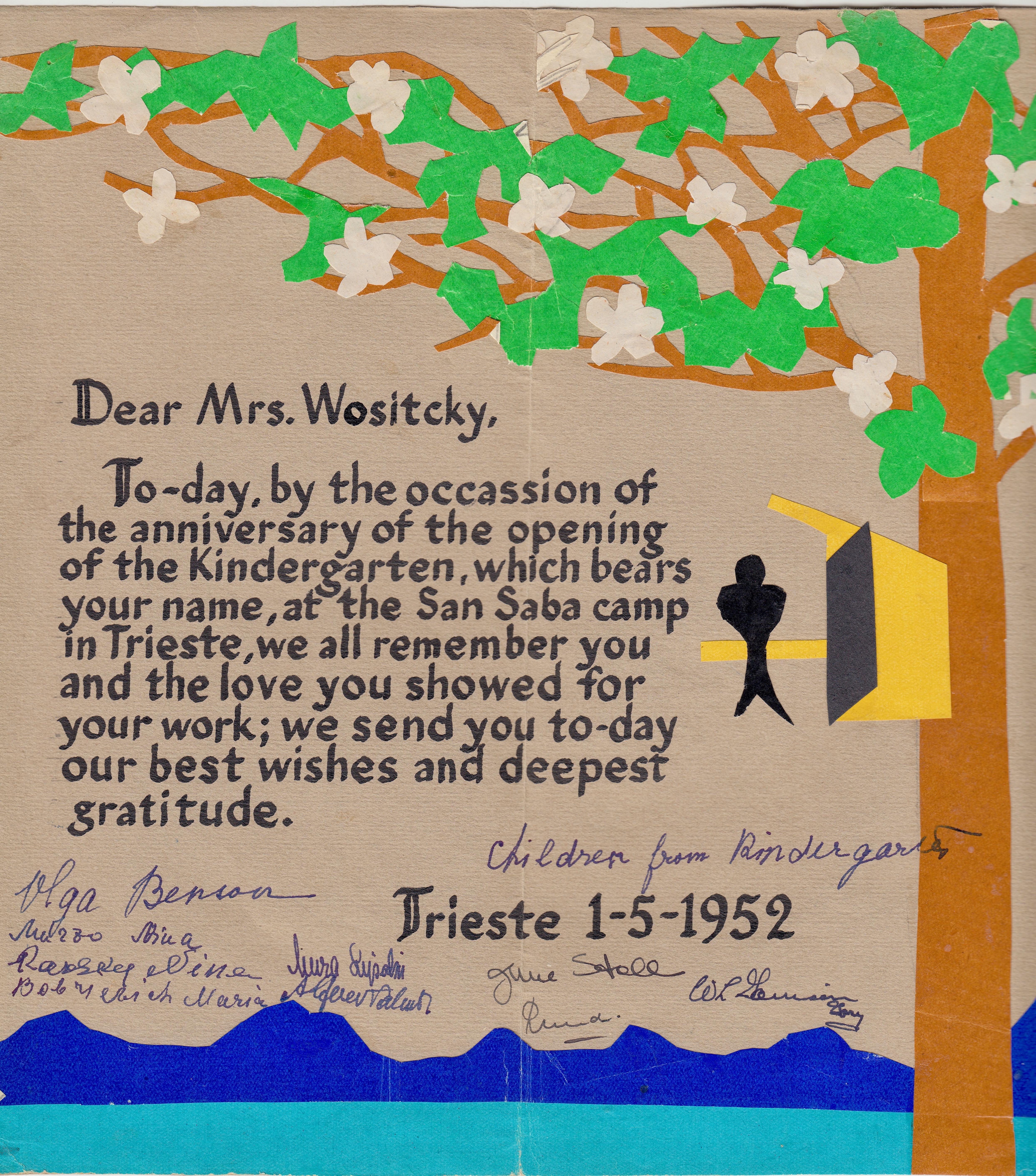 San Sabba Kindergarten card 1952
