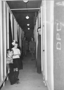 San Sabba barracks, Coka and brother at the door of their home 1950-51