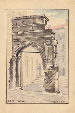 Sketch  postcard Via Del Trionfo, Artist B.Krutiev 1951