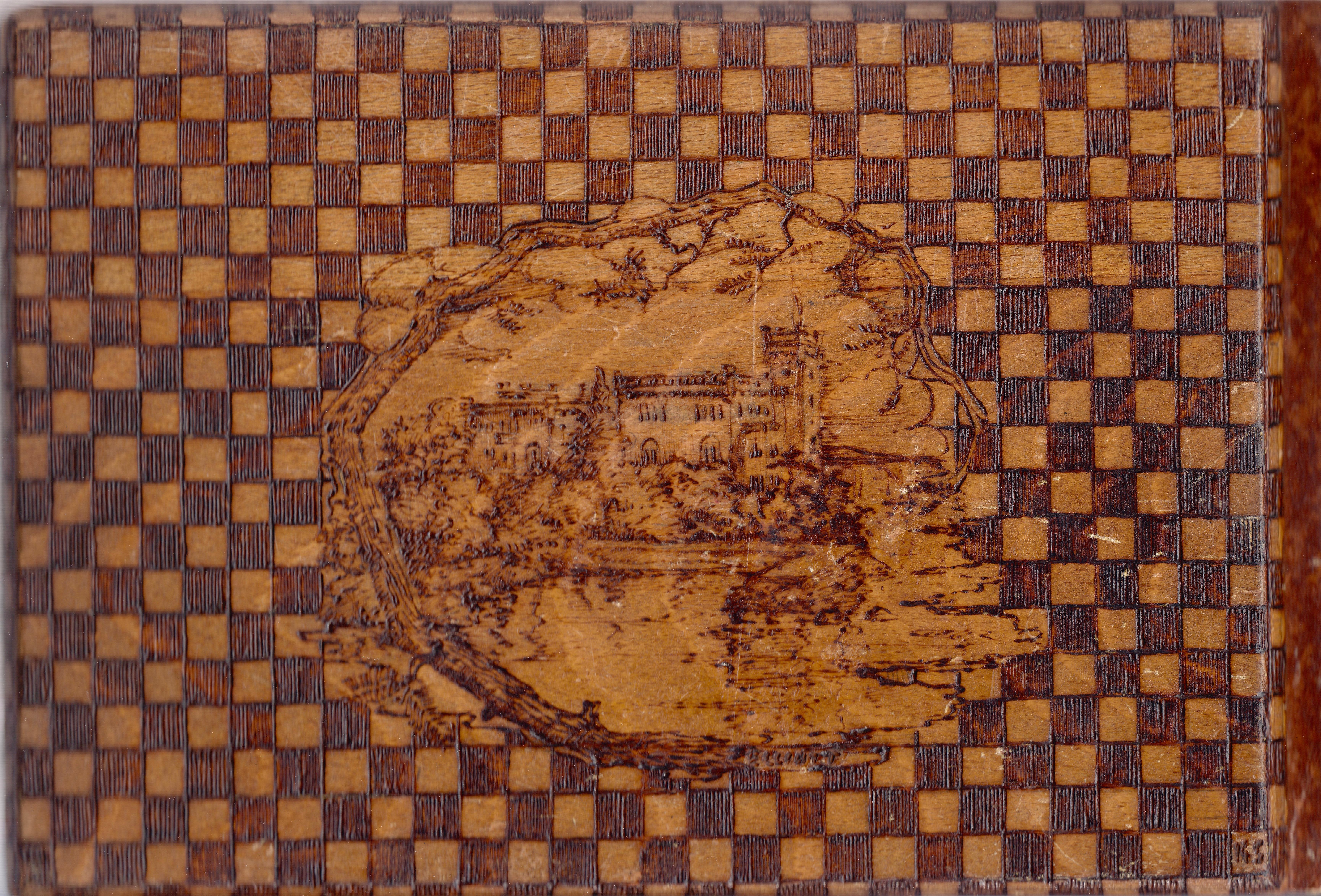 Wood carver photo album (back cover), Artist Konstantin Elliott, 1951