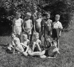 Waiern Summer Camp, Camp Leader Josef with his group Sept. 1949