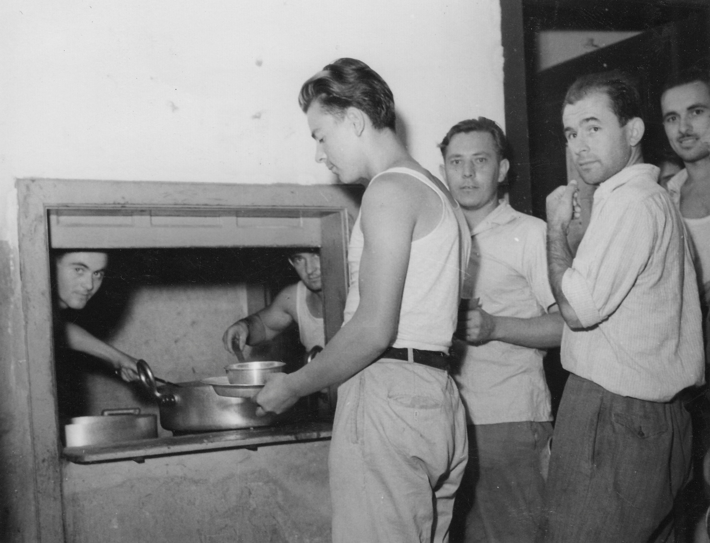 Gesuiti camp, soup and beans for dinner 1950-51