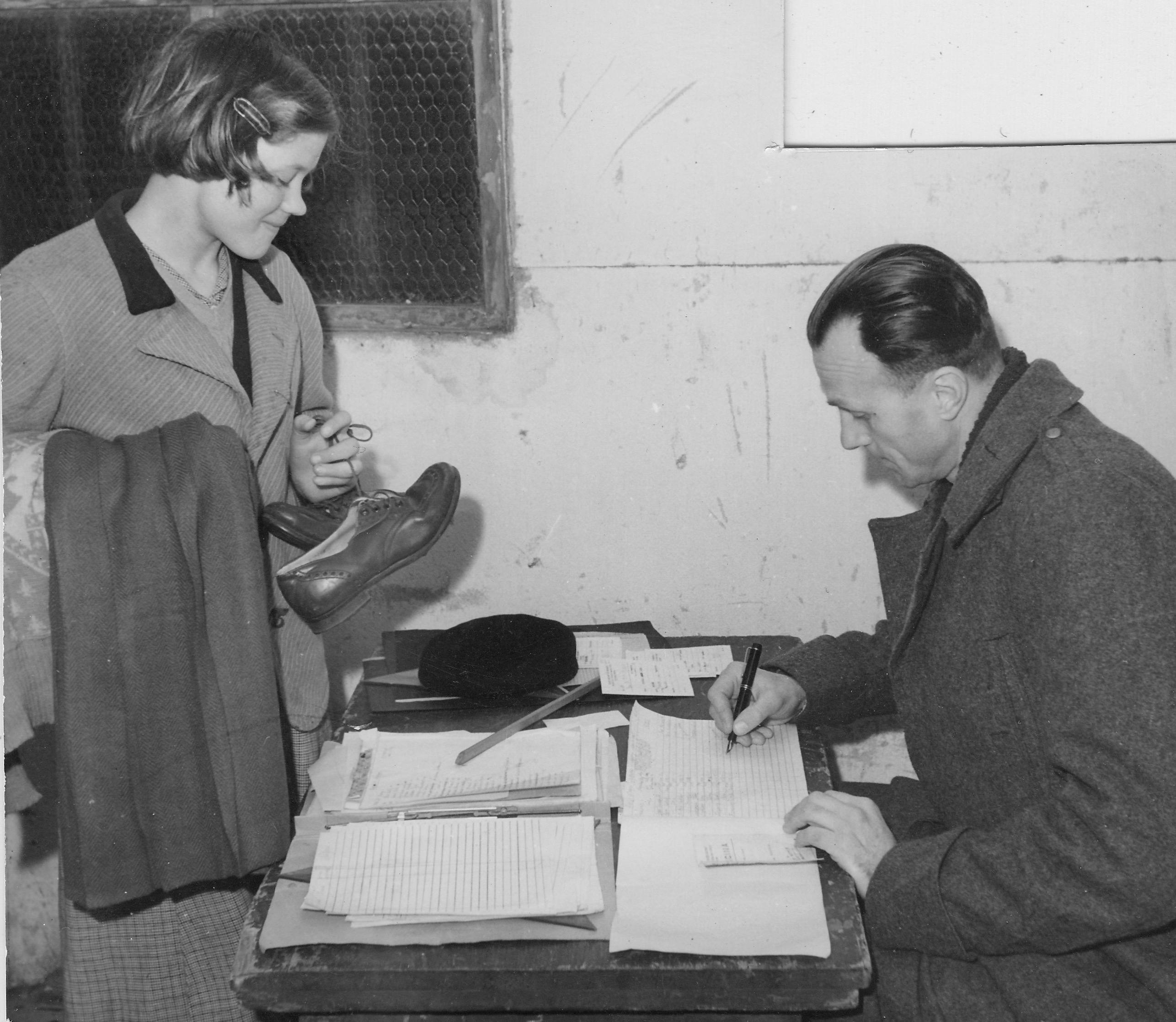 San Sabba clothing distribution, checked by Mr Chartereski 1950-51