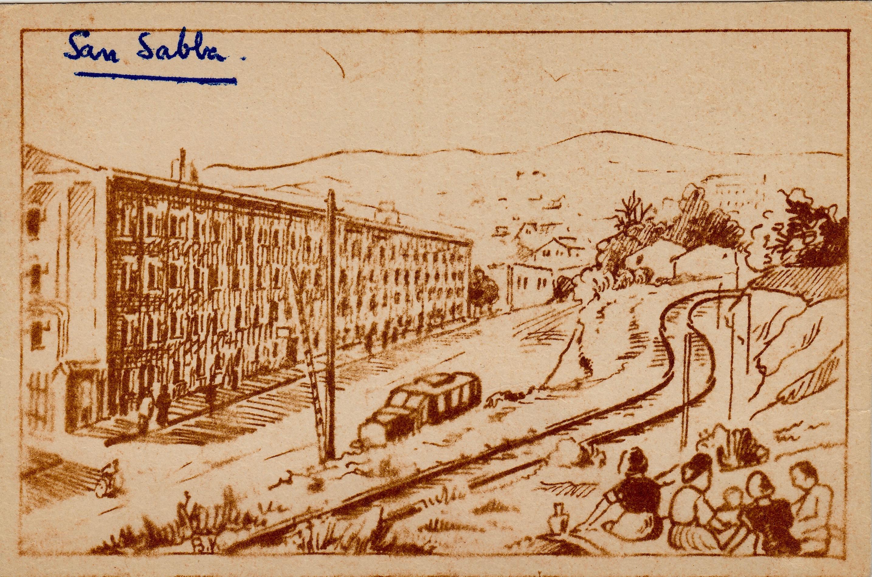 Sketch postcard San Sabba Artist B.Krutiev 1950