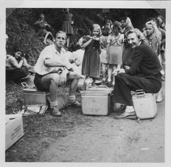 Waiern Camp Leaders Rudi & Clare McMurray serving soup Sept. 1949