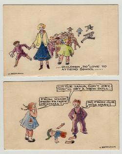 Sketch of children & Clare McMurray Artist V. Bedagen 1950-51