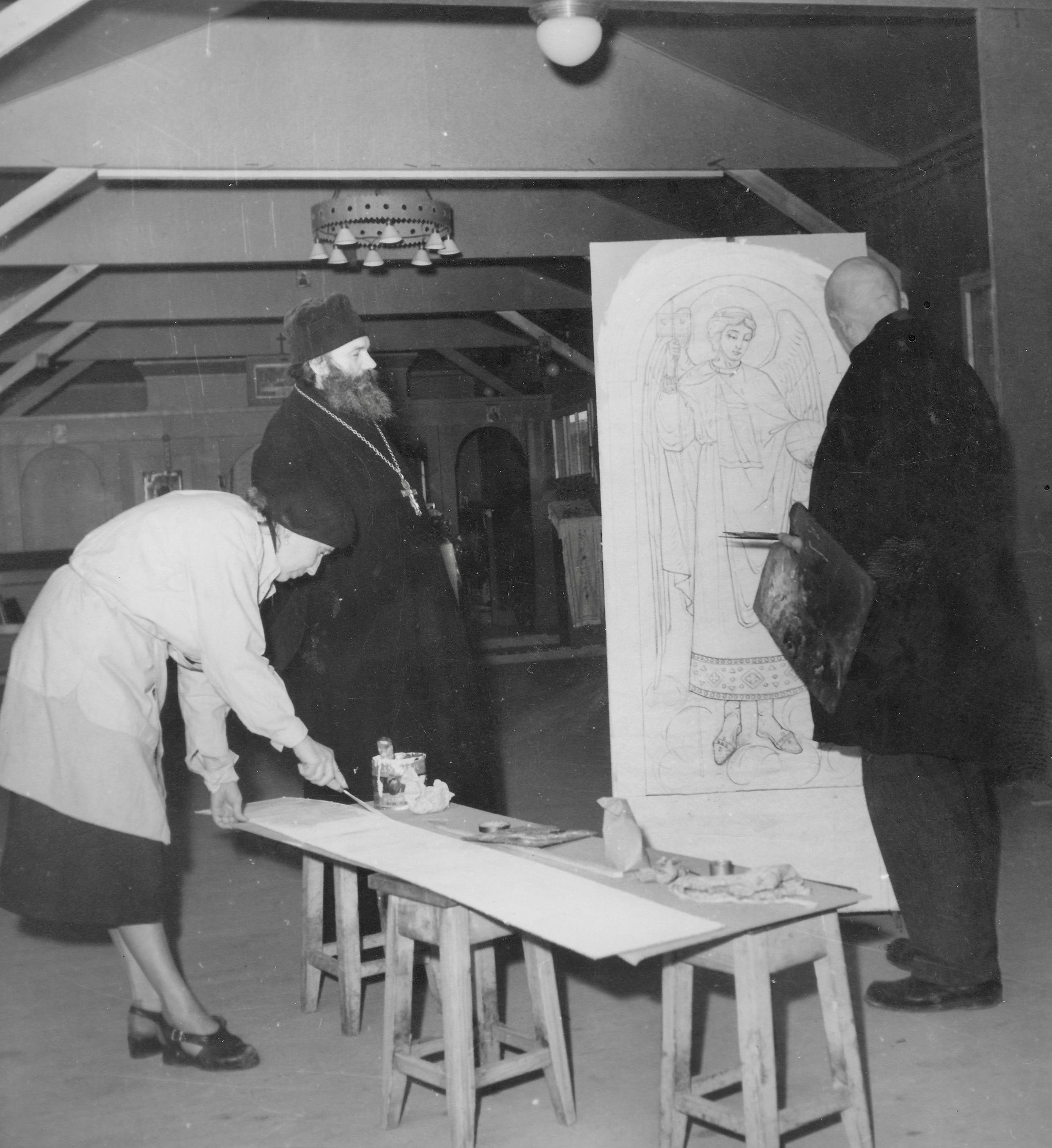 San Sabba Orthodox church, Father Gran, Herr Bicenko and lady painting the Ikons 1951