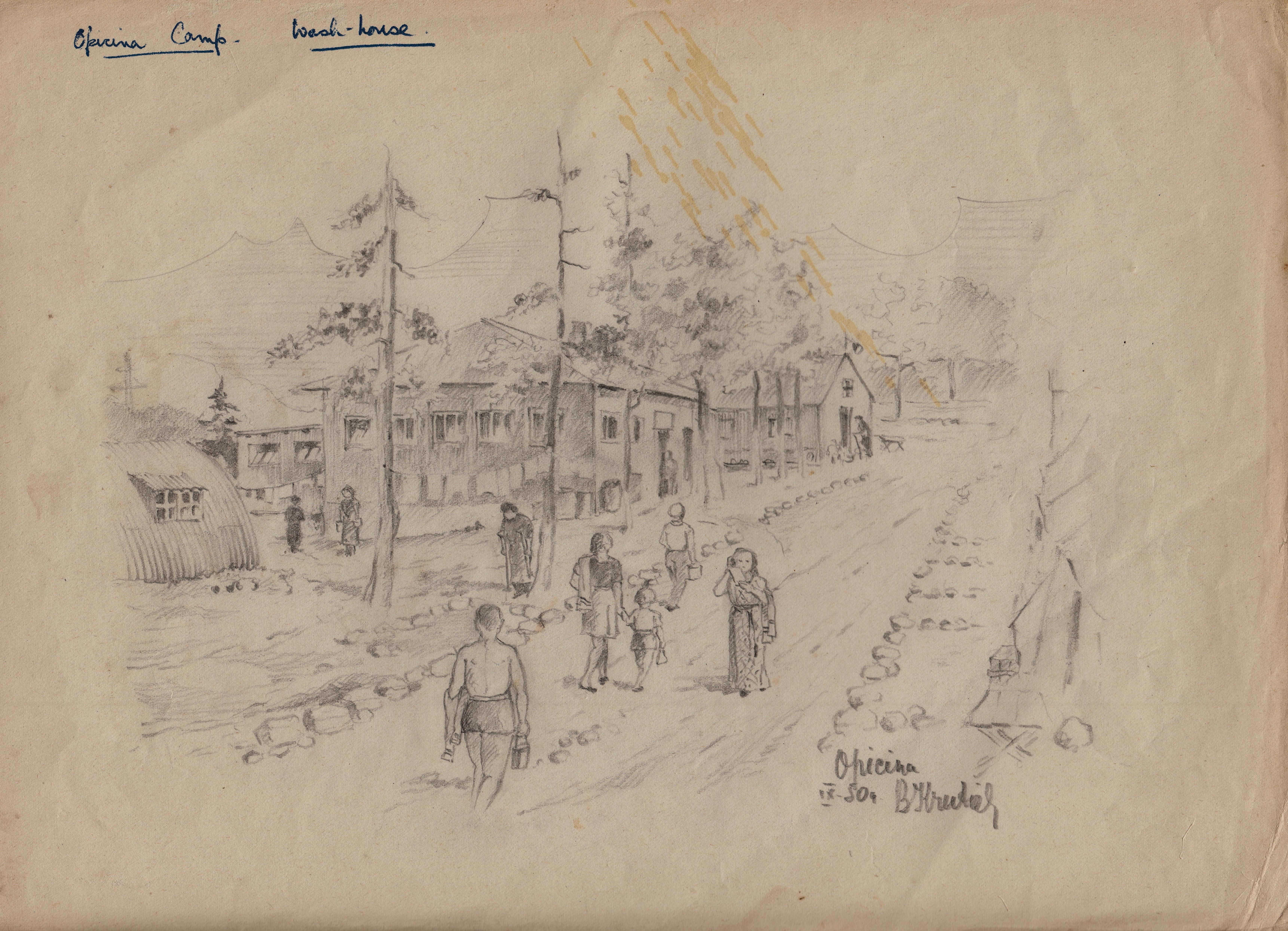 Opinina camp wash house Artist B. Krutiev 1950