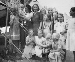 Waiern Summer Camp, Camp Leaders Elka and MIlka with Russian children Sept. 1949