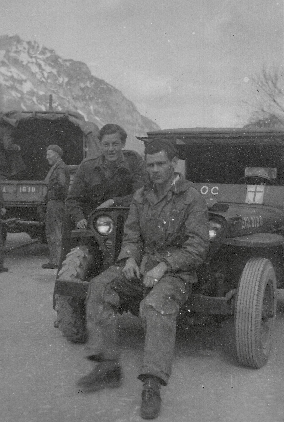 Eisenerz Displaced Persons Camp, Drivers Fritz, Slava & Neumor in background 1948
