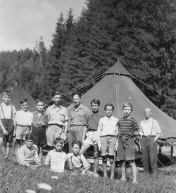 Waiern Summer Camp, Group Leader Harry Campbell and boys Sept. 1949