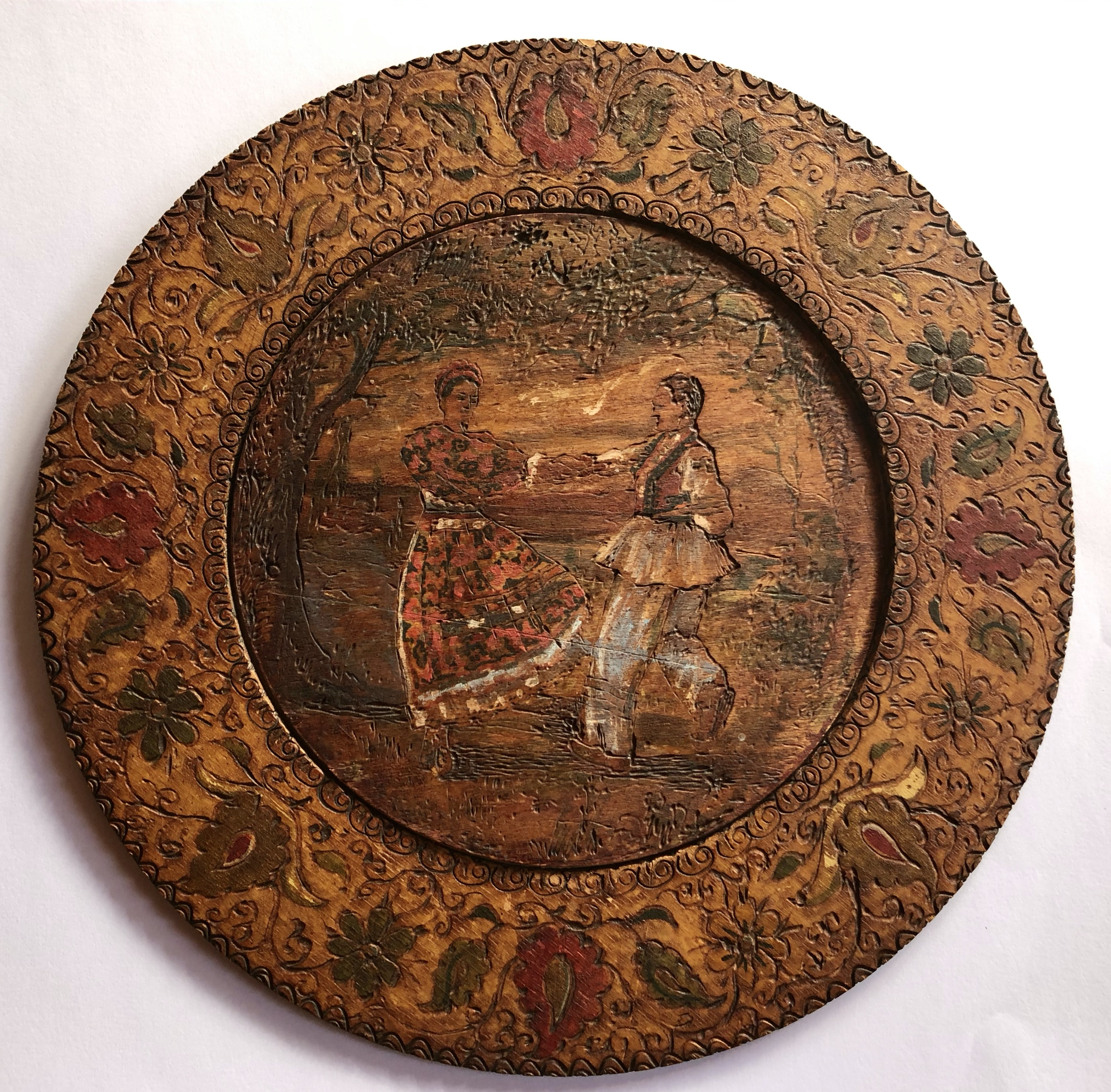 Wooden sketched plate (Artist unknown)