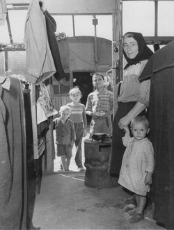 Opincina camp, inside nissan huts, home for 20 families 1950-51