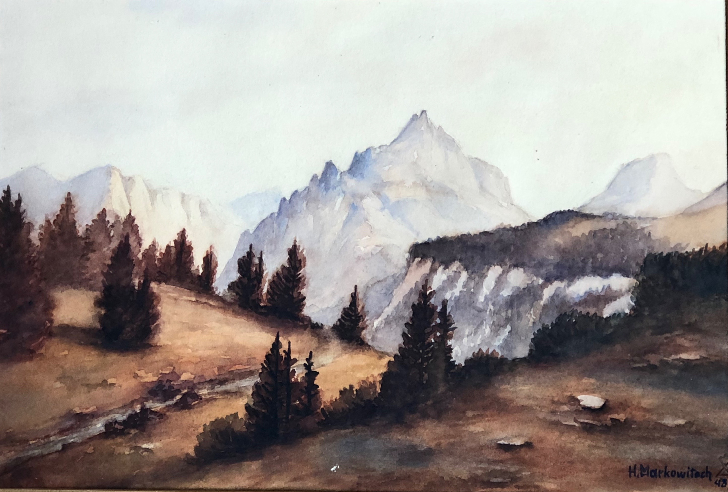 Painting of Die Griessmauer from camp 5. Artist H. Markowitech 1948