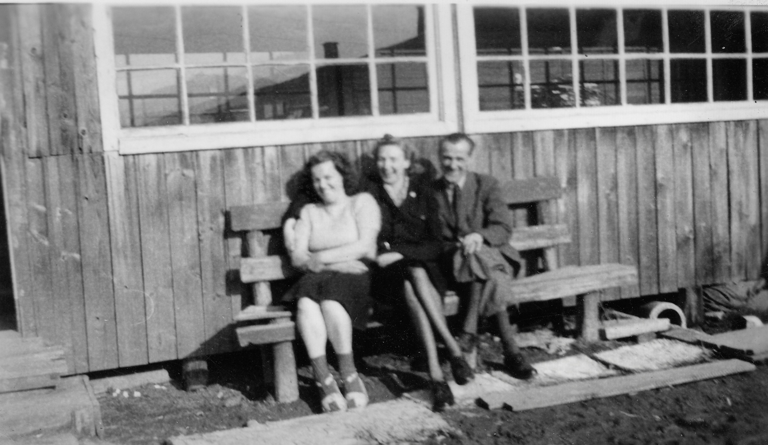 Kapfenberg Camp 2, Clare McMurray with Mrs & Mr Winter March 1949
