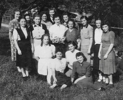 Waiern Summer Camp, Goup Leaders Clare McMurray centre back Sept.1949