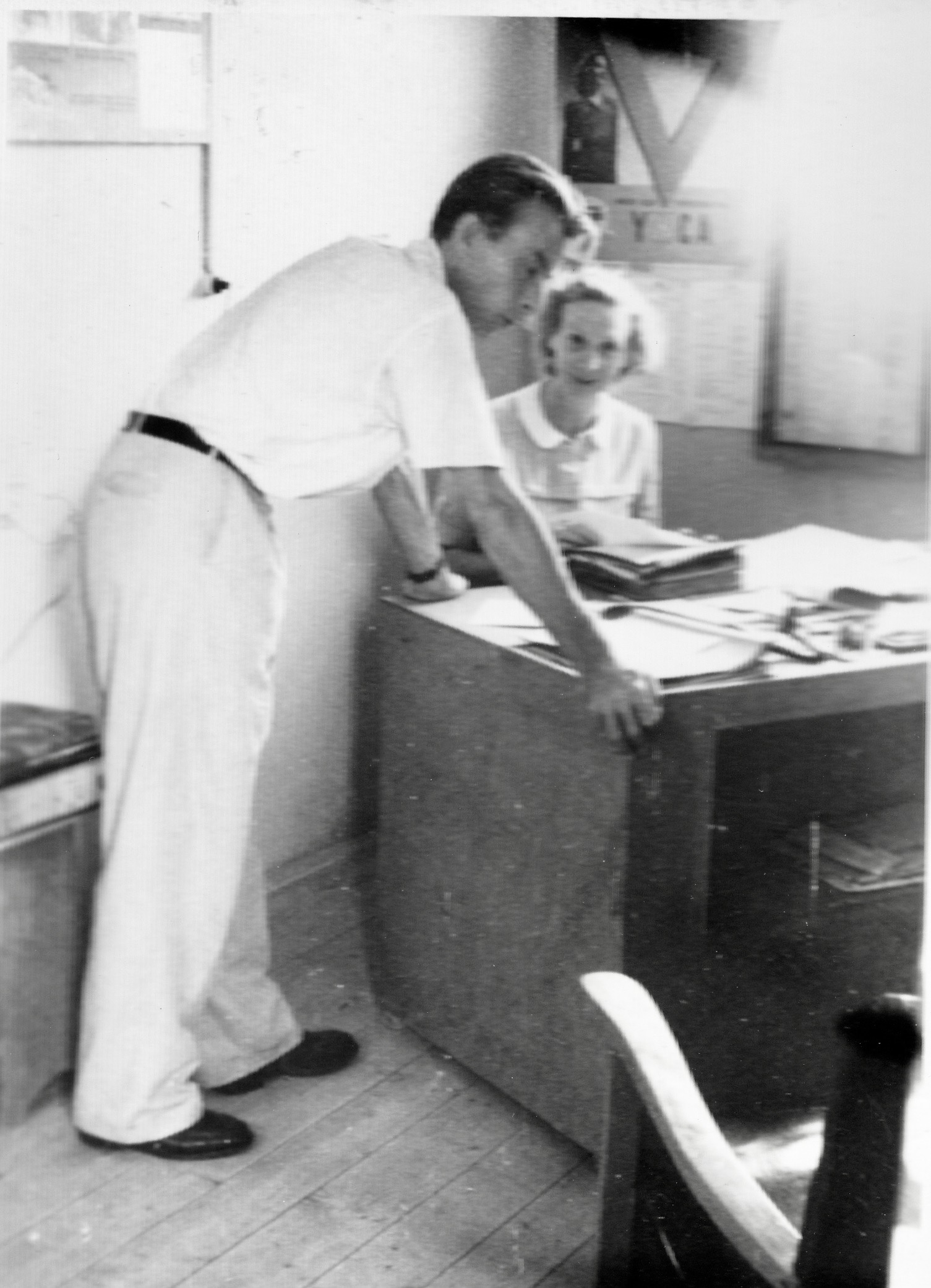 San Sabba, Clare McMurray with Mr Peckovsky, Clothing Manager 1950-51