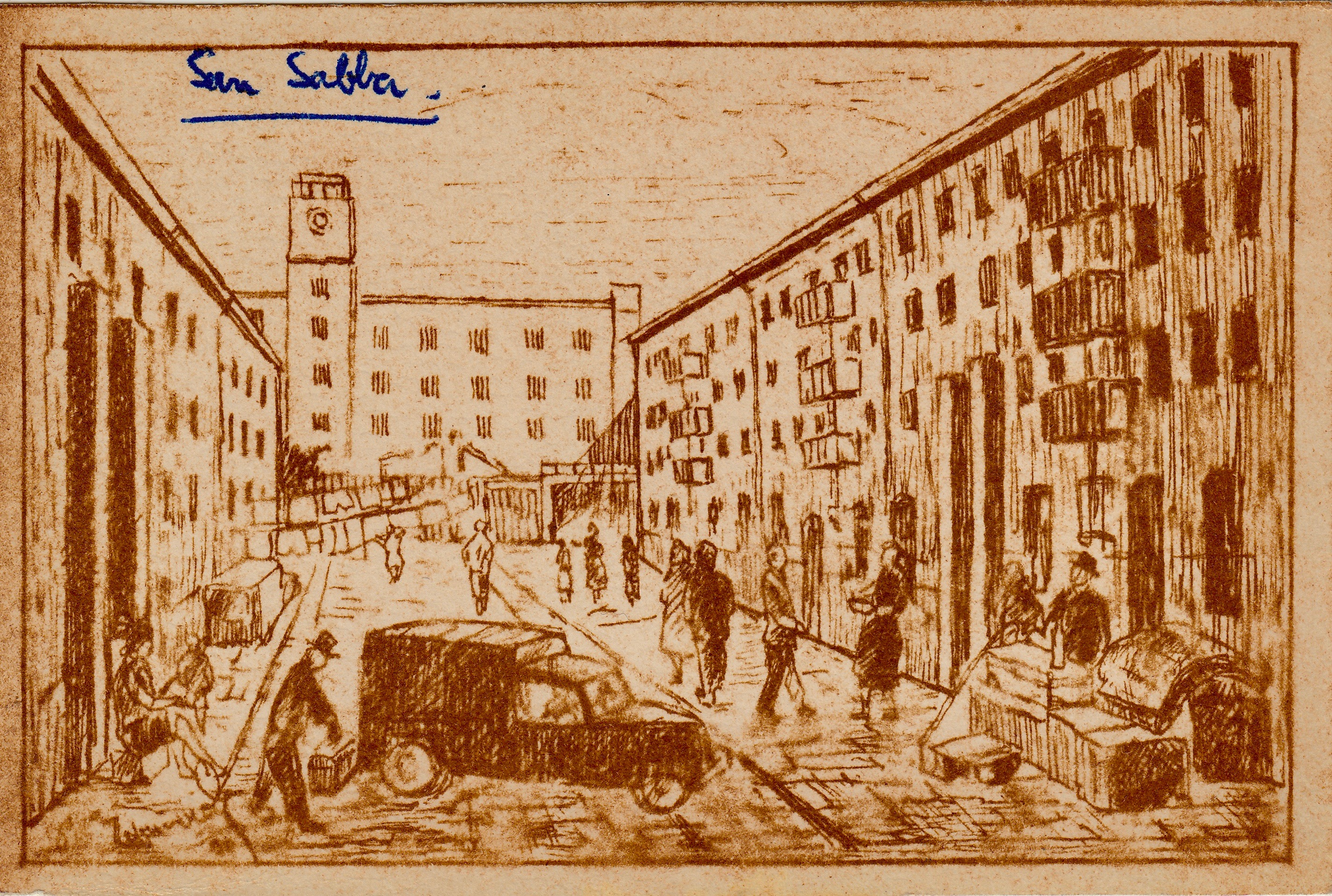 Sketch postcard  San Sabba Artist B. Krutiev 1950