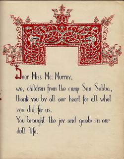 San Sabba Children thank you card cover 1951