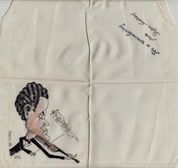 Ink sketched handkerchief thank you, Artist Stephan Nedelchef 1951