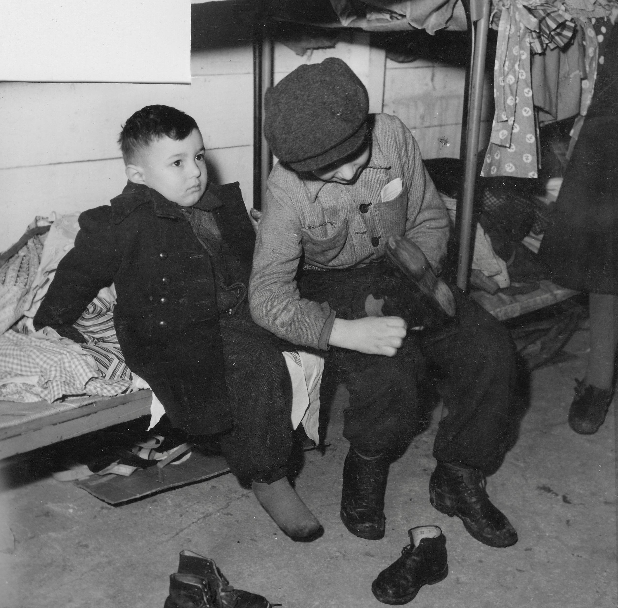 San Sabba shoe distribution, Slava's brother helping 1950-51