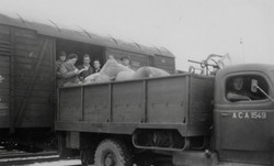 Kapfenberg camp, Pam unloading supplies from the train 1949
