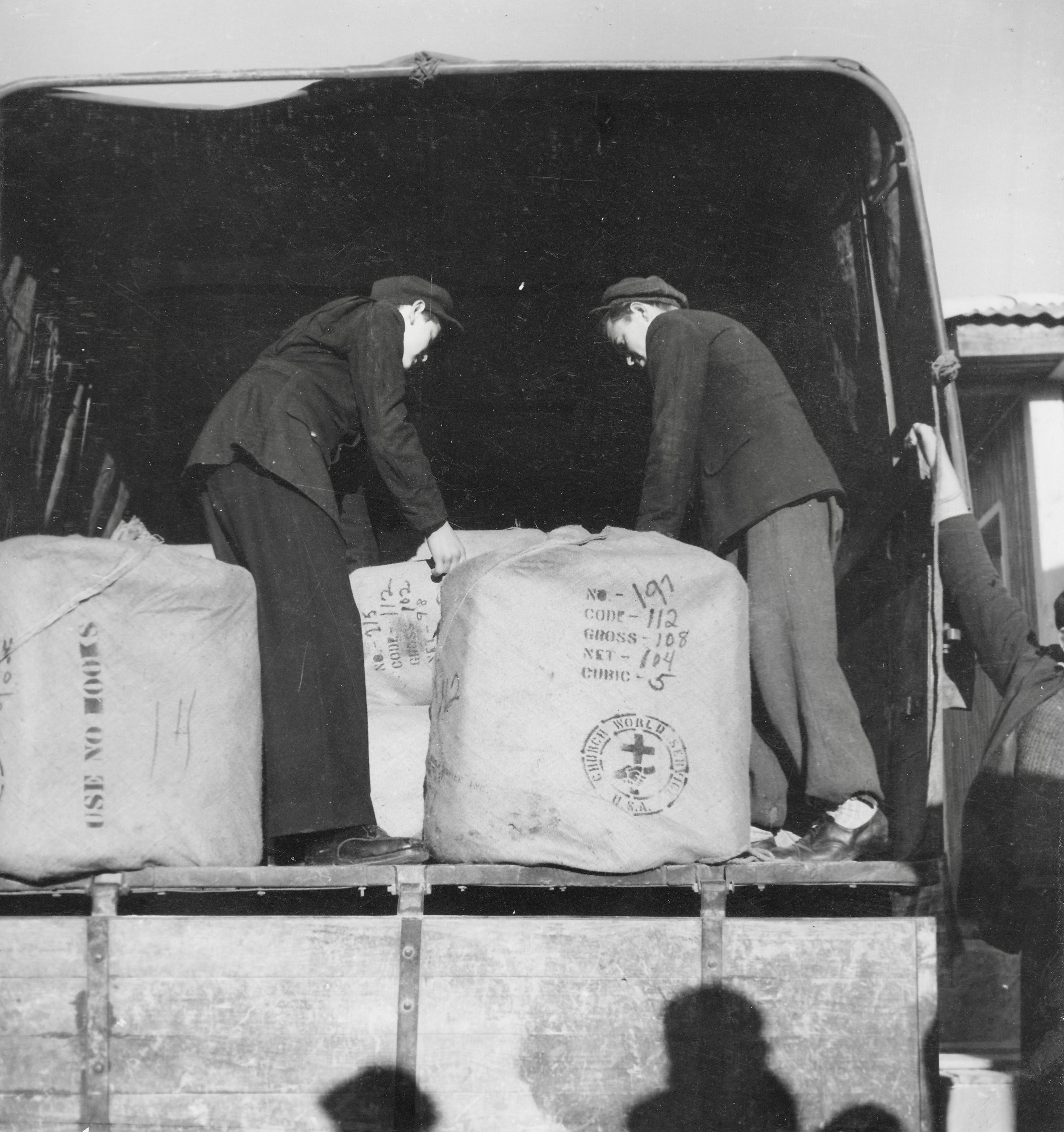 San Sabba, clothing bales from WCC in America 1950-51