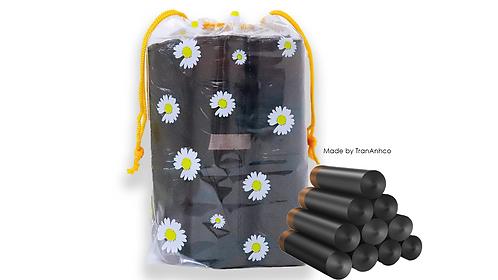 Bộ 5 cuộn túi rác 15 túi/ cuộn dây rút kèm túi đựng tái sử dụng