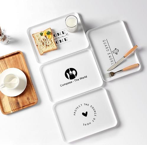 Khay nhựa trắng thiết kế tối giản - K002-005