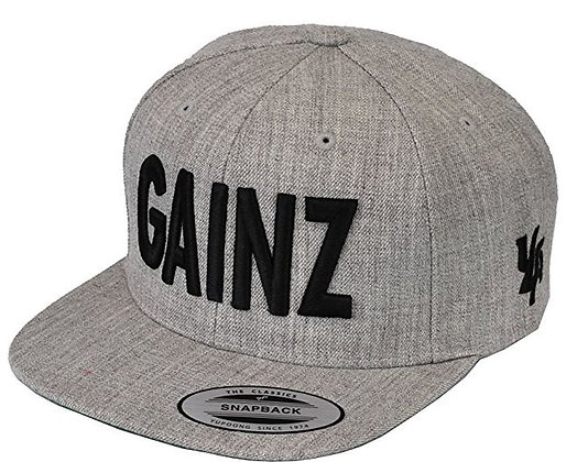 Gray Gainz hat black ltr