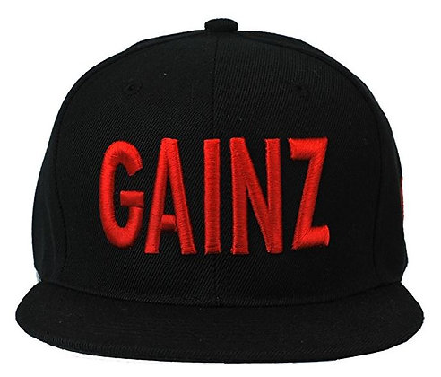 Blk Gainz cap Red ltr