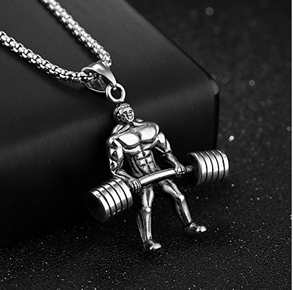 Weightlifter Pendant Boxing Chain Bodybuilding Necklace