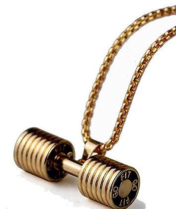Dumbbell GOLD Pendant Stainless Steel Chain