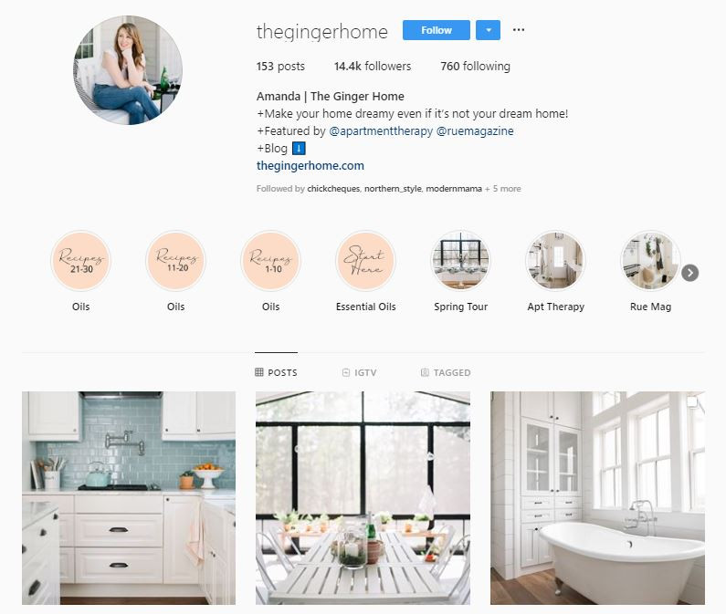 The Ginger Home Instagram | How to get more followers on Instagram | Influence Media Digital Marketing Consultant