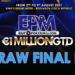 EPM il REDRAWdel FINAL DAY con 31 finalisti: