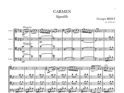 """CARMEN - """"Séguédille"""" pour Quatre Violoncelles"""