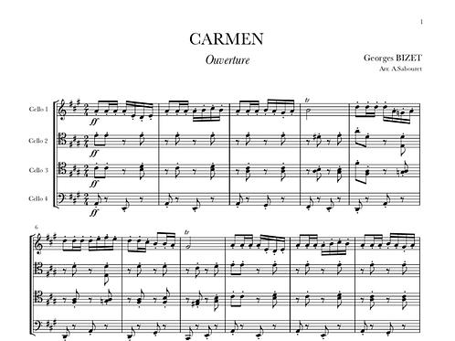 """CARMEN - """"Ouverture"""" pour Quatre Violoncelles"""