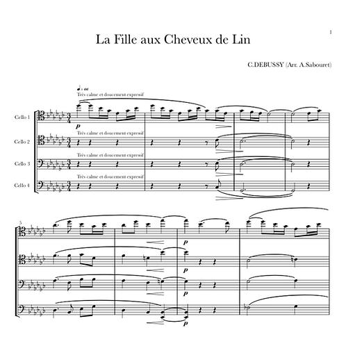 """DEBUSSY - """"La Fille aux Cheveux de Lin"""" pour Quatre Violoncelles"""