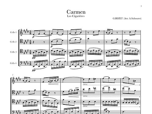 """CARMEN - """"Les Cigarières"""" pour Quatre Violoncelles"""