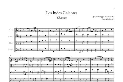 """RAMEAU - """"Chaconne"""" pour Quatre Violoncelles"""