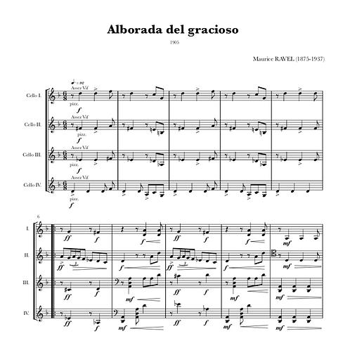 RAVEL - Alborada del Gracioso pour Quatre Violoncelles
