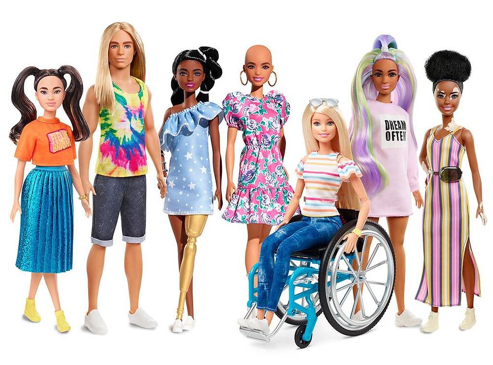 Quelques uns des nouveaux modèles Barbie 2020 © MATTEL