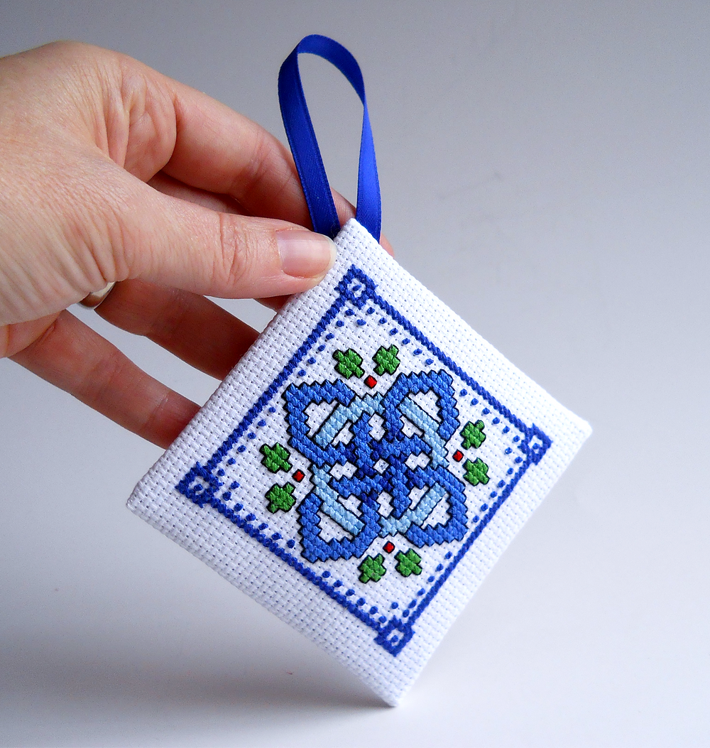 diamond shape cross stitch ornament