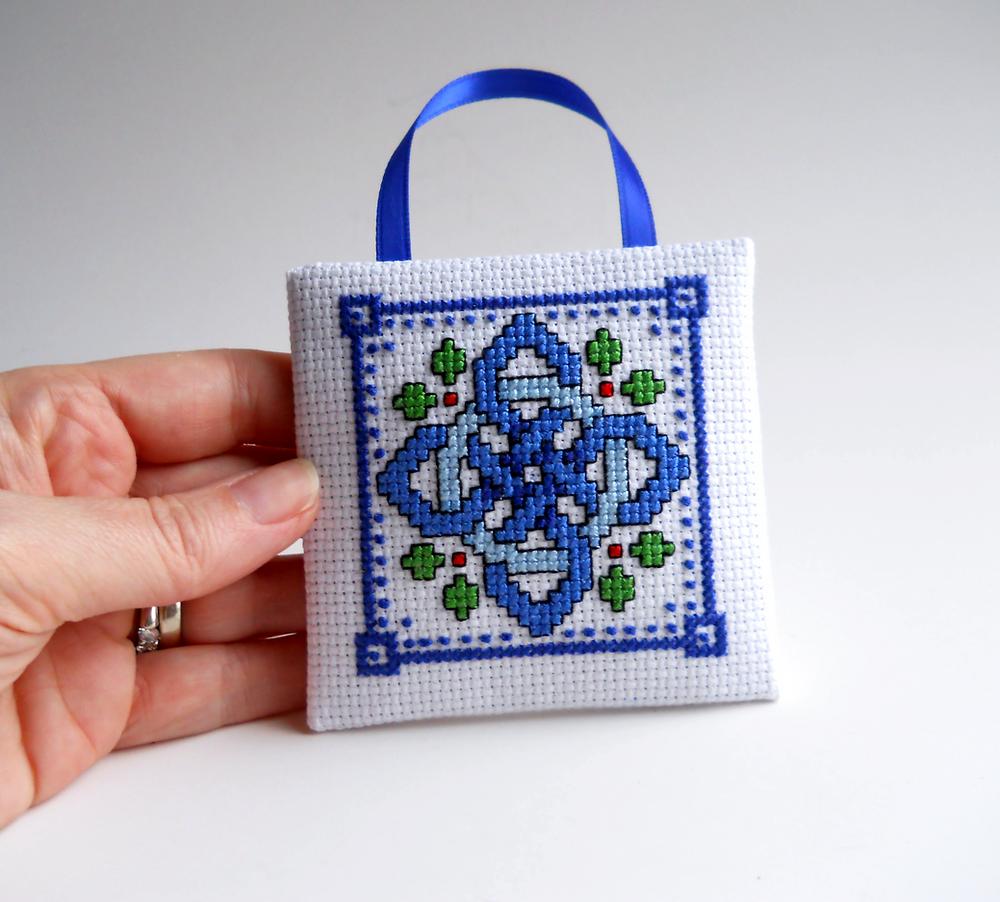 square celtic knot cross stitch ornament