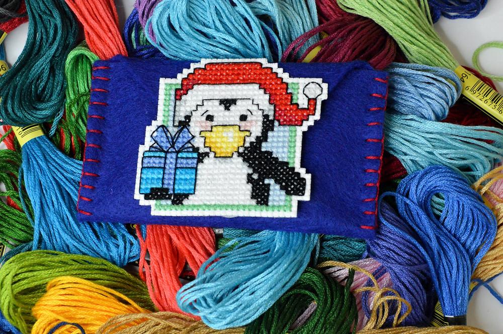 Christmas cross stitch gift tag