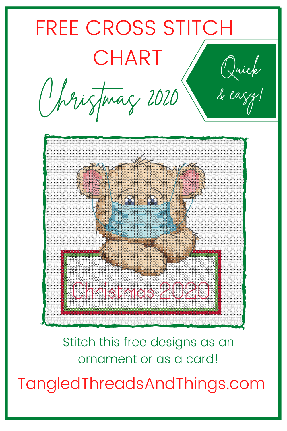 """A cross stitched bear wears a pandemic mask. He's holding a sign that says """"Christmas 2020""""."""